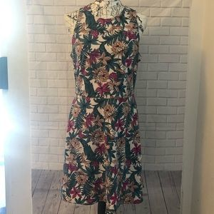 H&M floral fit & flare a-line dress pink